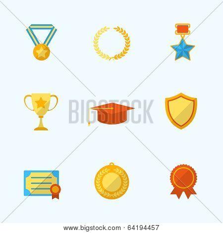 Award Icons Flat Set