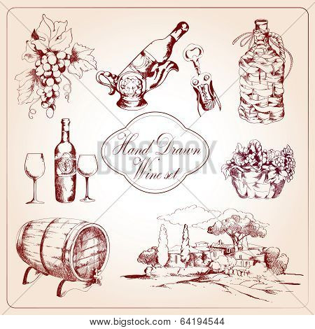 Wine decorative icons set