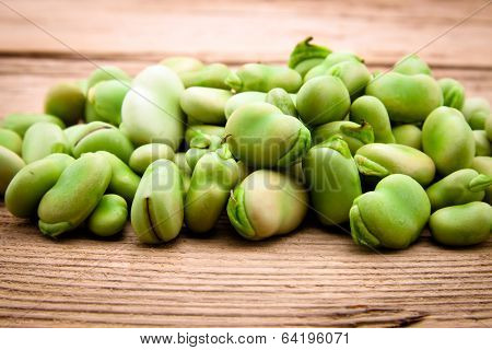 Fresh Broad Bean On Old Wooden Background