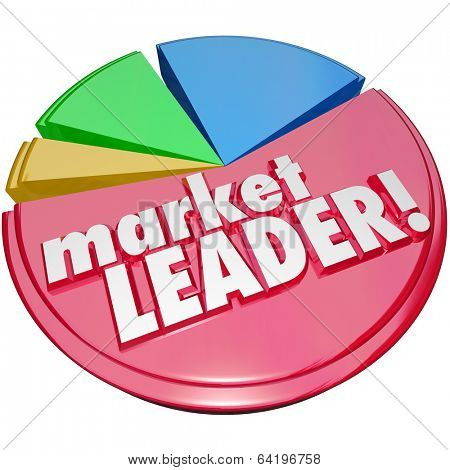 Market Leader Words Pie Chart Biggest Company Business Winner