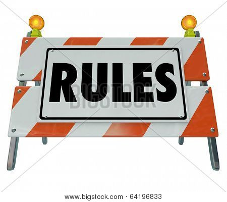Rules word Road Construction Barrier Sign Regulation Law Compliance
