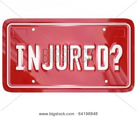 Injured License Plate Sue Lawsuit Car Accident Justice