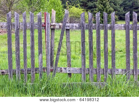 Old Crumbling Wooden Fence