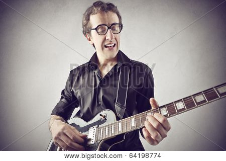 with his guitar