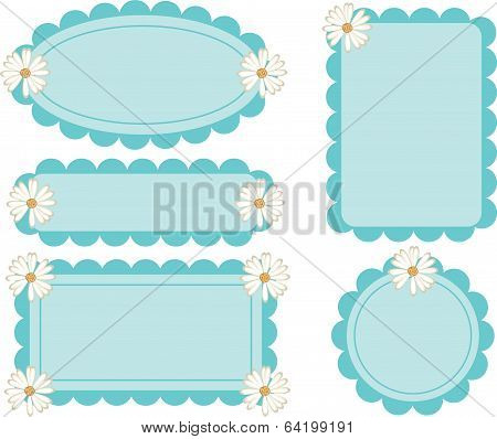 Daisy Flower Retro Scalloped Frames