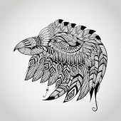 foto of indian chief  - vector tattoo black hand drawn highly detailed eagle head native american style - JPG