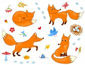 stock photo of animated cartoon  - Set of cute foxes - JPG