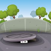 picture of manhole  - Illustration of a funny cartoon urban scene with human animal or creature character - JPG