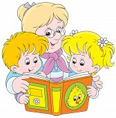 foto of granddaughters  - Grandmother is reading a book to her little granddaughter and grandson - JPG