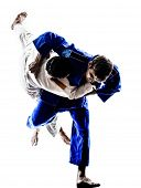 picture of judo  - two judokas fighters fighting men in silhouettes on white background - JPG