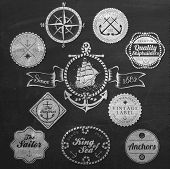 stock photo of sketch book  - Set Of Vintage Retro Nautical Badges And Labels On Chalkboard - JPG