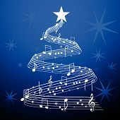 image of serenade  - Christmas  Tree Over Blue with musical notes and stars - JPG