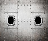 image of ironclad  - ship or submarine window metal background - JPG