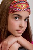 image of pre-teen girl  - Closeup of young pre - JPG
