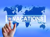 image of sabbatical  - Vacations Map Meaning Internet Planning or Worldwide Vacation Travel - JPG