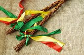 pic of flogging  - Two Czech Easter rods with colorful ribbons - JPG