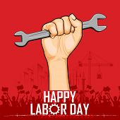 stock photo of labourer  - illustration of Labor Day concept with man holding wrench - JPG
