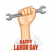 foto of labourer  - illustration of Labor Day concept with man holding wrench - JPG