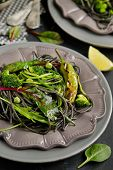 foto of cuttlefish  - Cuttlefish ink spaghetti with broccoli - JPG