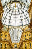 stock photo of emanuele  - Milan Vittorio Emanuele II urban gallery architecture connecting Duomo Place with historical Scala Theater - JPG