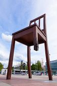 picture of landmines  - Geneva broken chair in front of the united nation building  - JPG
