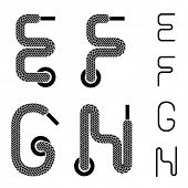 picture of g-string  - vector shoe lace alphabet letters E F G H - JPG