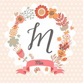stock photo of letter m  - Personalized monogram in vintage colors - JPG
