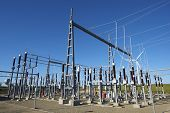 image of substation  - Electrical substation with blue and clear sky - JPG