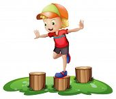 foto of headgear  - Illustration of a young boy playing with the stump on a white background - JPG