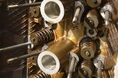 stock photo of combustion  - a close up of a head off a internal combustion engine showing the valve springs