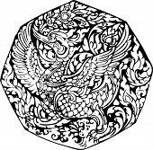 image of black swan  - line thai Swan pattern  - JPG