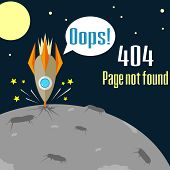 picture of oops  - Concept of not found error message with crush of rocket - JPG