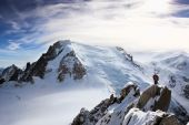 stock photo of mountain-climber  - Climbers in Swiss Alps with Mont Blanc in Background - JPG