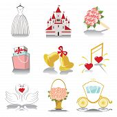 stock photo of wedding feast  - Retro Vector Design wedding icons for Web and Mobile - JPG