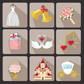 foto of wedding feast  - Retro Vector Design wedding icons for Web and Mobile - JPG