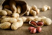 image of groundnut  - Peeled peanut on well peanuts in background - JPG