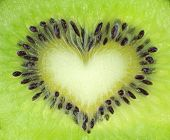 picture of fuzz  - Kiwi fruit slice texture with heart shape - JPG