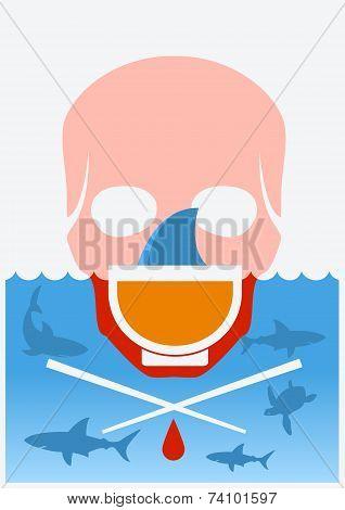 Stop Shark Finning Soup.vector Color Underwater Poster