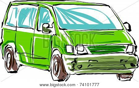 Colored hand drawn car on white background, illustration of a minivan.