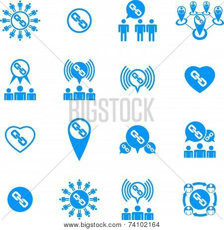 Teamwork and business cooperation theme creative icons set