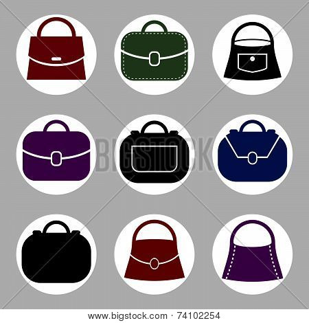 Bag icons set of 9 examples, fashion theme symbols collection.