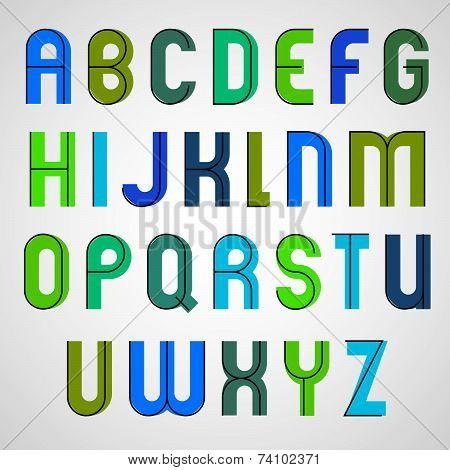 Colorful binary funny font, rounded upper case letters.