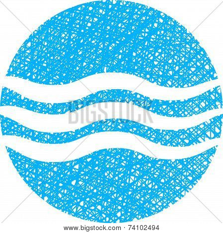 Wave water icon, abstract icon, symbol with hand drawn lines texture.