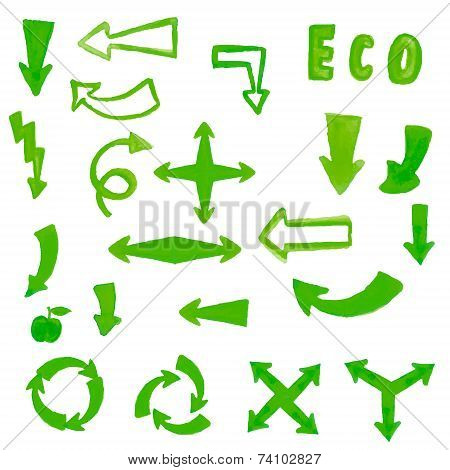 Handpaint watercolor green arrow