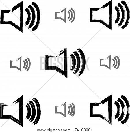 Set of hand-drawn sound icons, collection of brush drawing multimedia signs