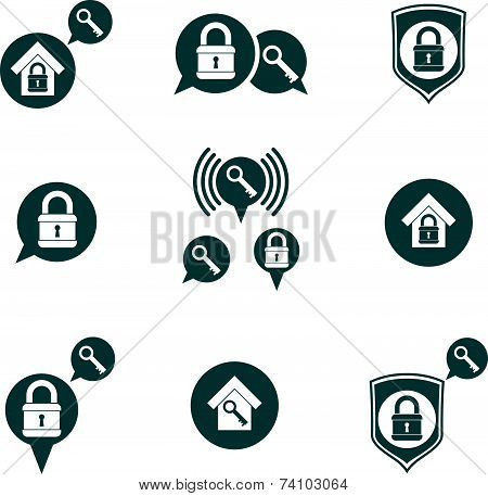 House security protection icons set, home, house, padlock and key, creative and unusual symbols coll