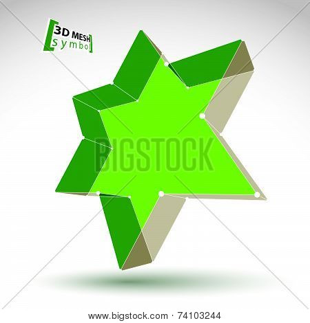 3d mesh green star sign isolated on white background, colorful elegant