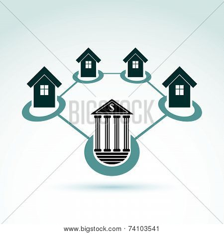 Bank and invest and credit customers, real estate crediting and investment, money theme icon, concep