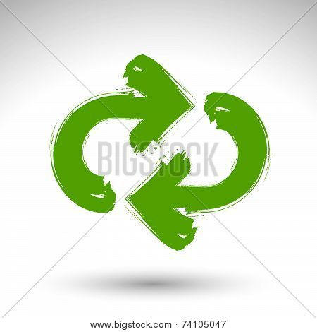 Hand-painted update sign isolated on white background, simple repeat navigation icon, created with r