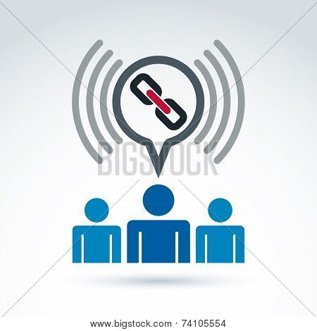 Podcast Icon With A Link Symbol. People Chat On Social Relationship. speech Bubble Sign.